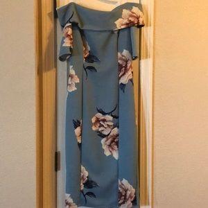 Blue floral off the shoulder bodycon dress